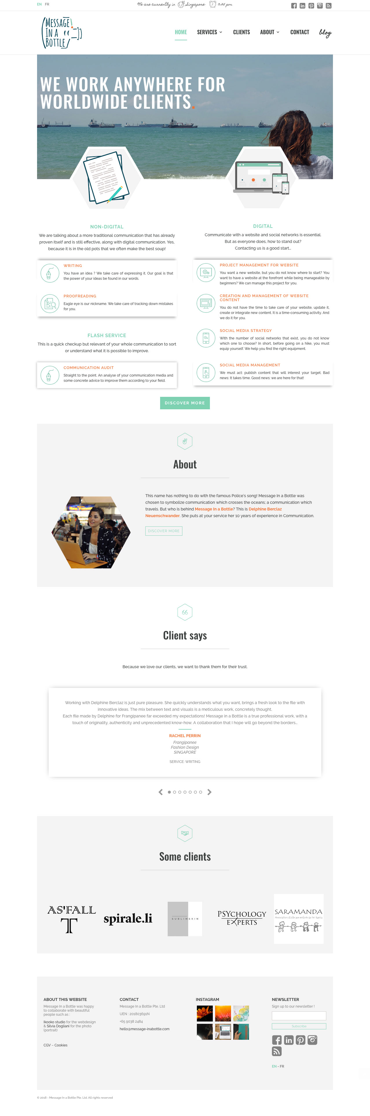 Made By You has created the website of Message In a Bottle, communication agency
